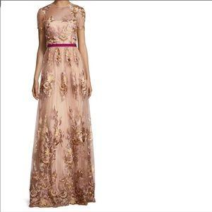 NWT Monique Lhuillier Illusion Floral Gown Vintage